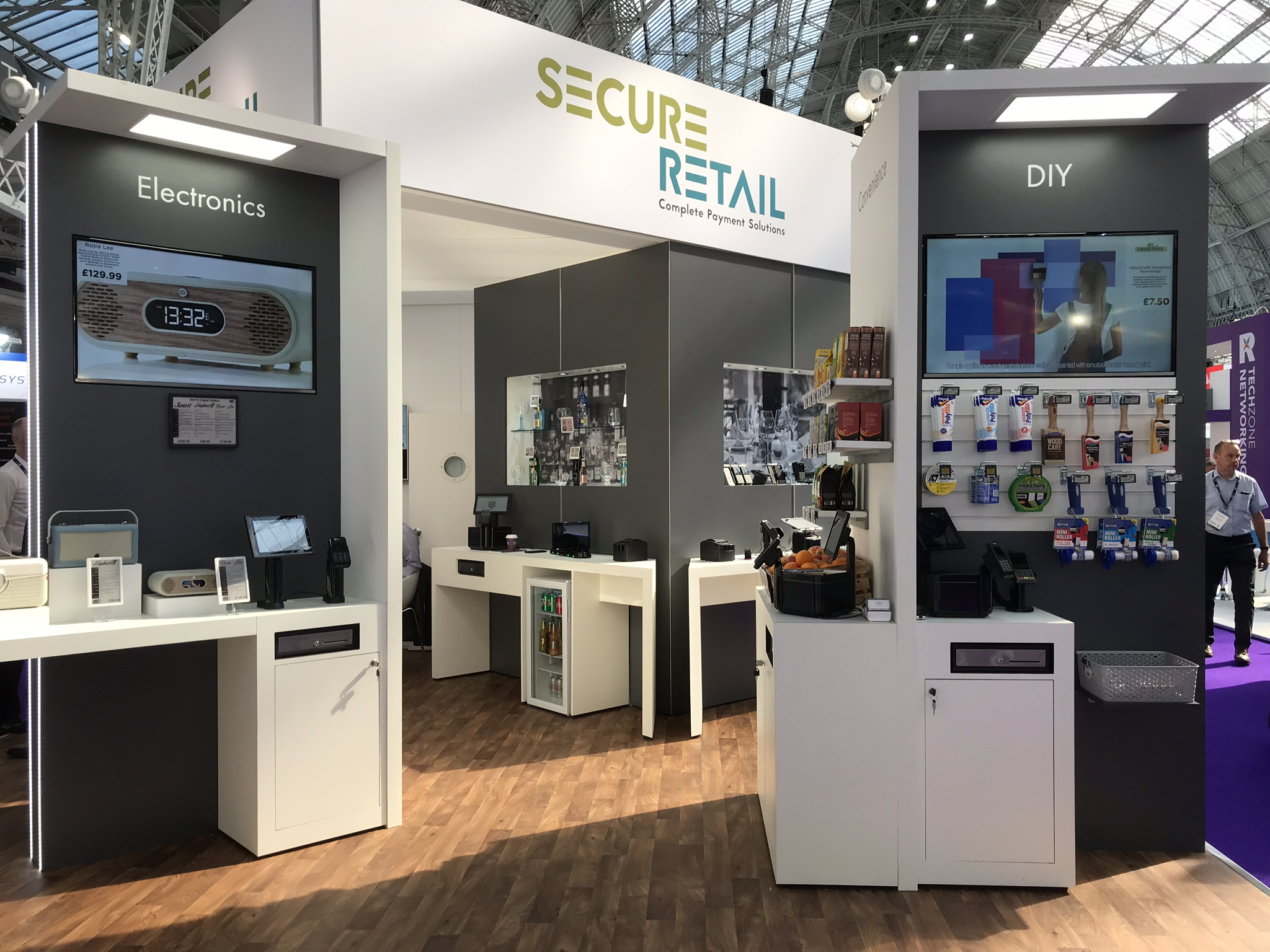 Demonstrations of payment solutions and ESLs were on Secure Retail's stand.